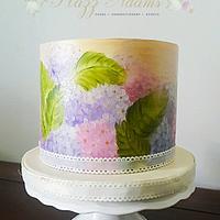 Hand Painted Cake - Hydrangeas