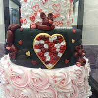 Valentine's Day Cake with Bears & Hearts