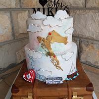 Fondant handpainted wedding cake