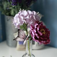 Gum paste flower - peony with hydragea