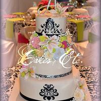 Spring Floral and Damask Wedding cake