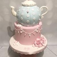 Vintage teapot and bunting