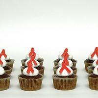 Aids Awareness Ribbon Cupcakes