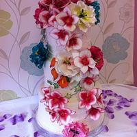 Flower power wedding cake