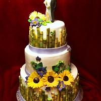 Sunflower and sugarcane wedding and grooms cake