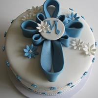 Blue Cross Baptism Cake with Cross Sugar Cookies!