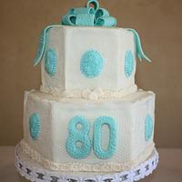 80th Birthday Victorian Lace Cake