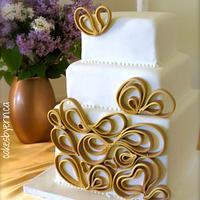 Gold Quilled Wedding Cake