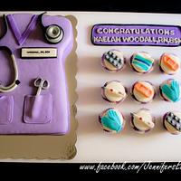 Nurse Graduation Cake and Cupcakes