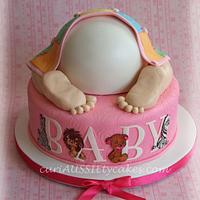 Precious moments baby bum shower cake by CuriAUSSIEty  Cakes