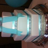 Tiffany blue & bling hexagon cake