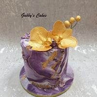 Purple Beauty with gold orchids