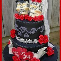 'Till Death ~ Gothic Skulls Wedding Cake