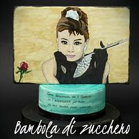 Audrey Hepburn - Hand Painted Cake