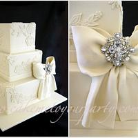 Vintage Lace and Diamonte Bow Wedding Cake by Leah Jeffery- Cake Me To Your Party