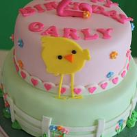2nd Birthday Chick Cake