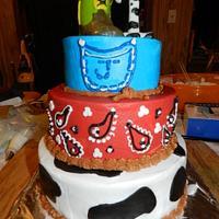 Cowboy first birthday cake