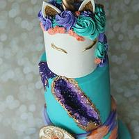 Unicorn/Geode Themed Bday Cake! by Cakes By Julie