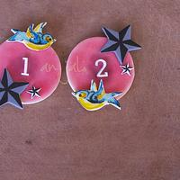 Tattoo birthday cupcake toppers