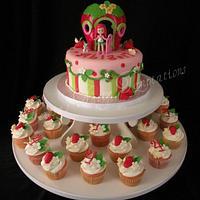 Strawberry shortcake cupcake tower