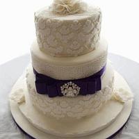 3 tier wedding cake with sugarviel and cricut cake