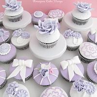 Lavender Vintage Wedding Cupcakes