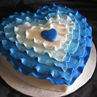 Blue Ruffle Heart cake