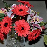 Gumpaste flowers,gerberas stargazer lilies.