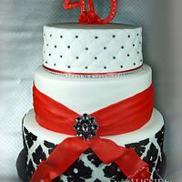 Red, black and white demask 40th cake
