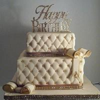 Ivory and Gold Quilted Cake