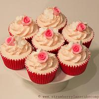 Pink Roses and Hydrangea Cupcakes