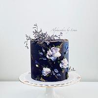 Buttercream flower painted cake.