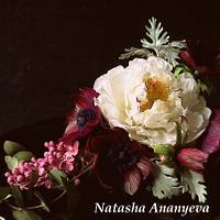 Sugar arrangement - peony, anemones, lilac