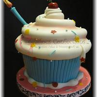 Giant Whimsical Cupcake Cake