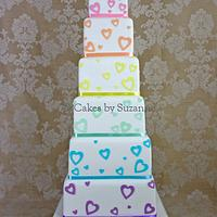 Pastel Rainbow Hearts Wedding Cake by suzanne