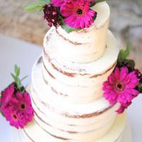 Gerbera Naked Wedding Cake by Mericakes