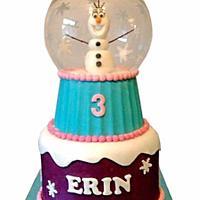 Olaf snow globe cake