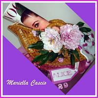 3D cake typical sicilian bag with sugar flower ( peony)