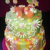 70th Birthday bright floral cake