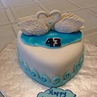 Two Love Birds Anniversary Cake