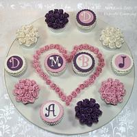 Mini Rose Wedding Cupcakes