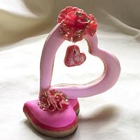 Valentine's cookies and cake topper