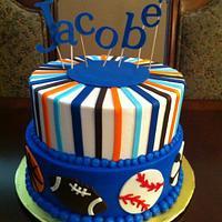 Sports Theme Shower Cake by lanett