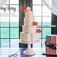 White Wedding Cake + Patriotic Groom's Cake!