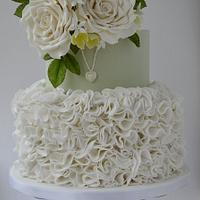 White ruffles and roses