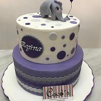 Baby shower purple cake