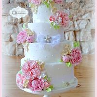 David Austin roses and peonies cake