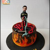 firefighter fondant cake