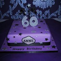 Purple Glitter 60th Birthday cake by Deborah Cubbon (the4manxies)