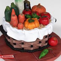 Another realistic vegetable basket cake